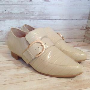 Bared footwear Roller beige croc embossed loafers